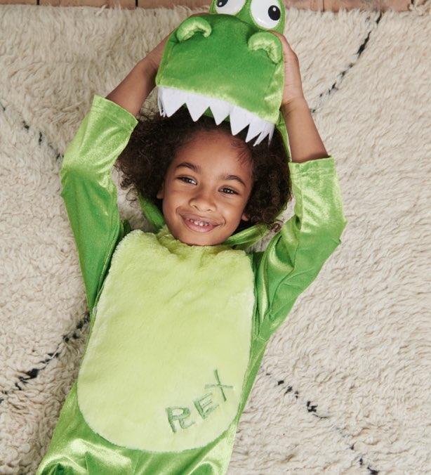Boy wearing a green dinosaur costume.