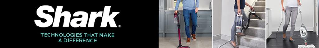 Three people using Shark Vacuums in their homes.